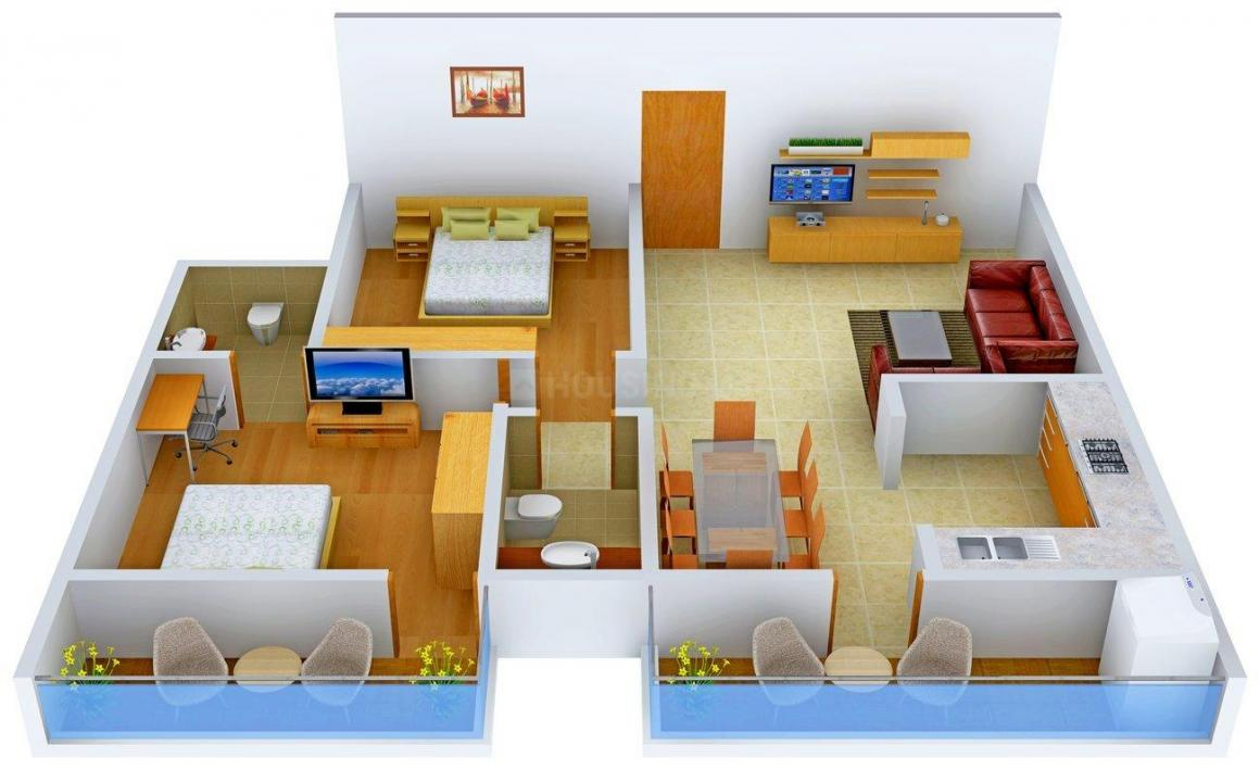 5 Elements Realty Pranavi Pride Floor Plan: 2 BHK Unit with Built up area of 1120 sq.ft 1