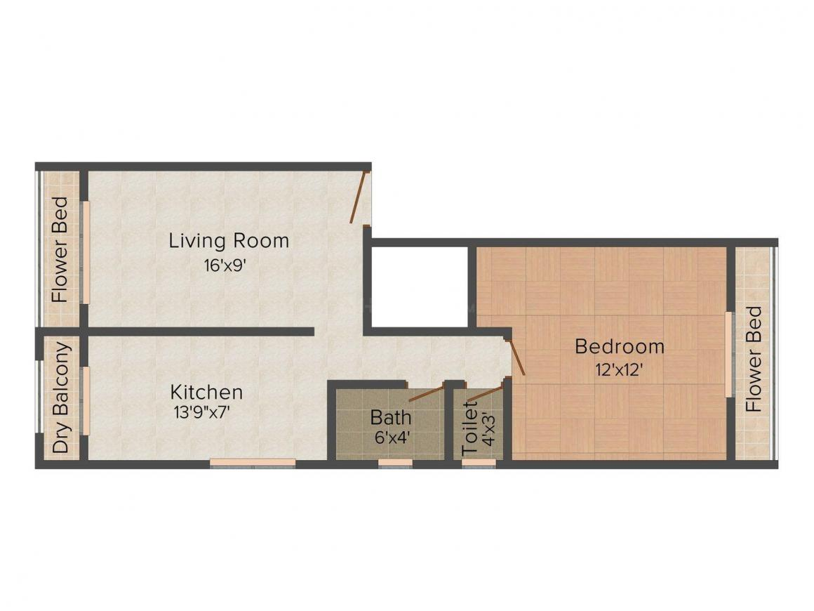Floor Plan Image of 740 - 855 Sq.ft 1 BHK Apartment for buy in Ideal Dynasty