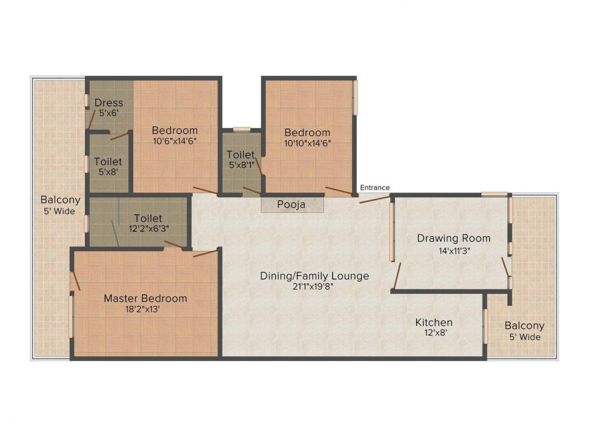 Floor Plan Image of 0 - 1700 Sq.ft 3.5 BHK Independent Floor for buy in Skysons Floor - 3