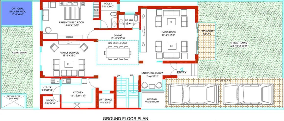 Tulip Ivory Villas Floor Plan: 6 BHK Unit with Built up area of 5000 sq.ft 2