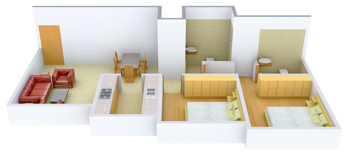 Floor Plan Image of 1250.0 - 1550.0 Sq.ft 2 BHK Apartment for buy in Divyam Residency