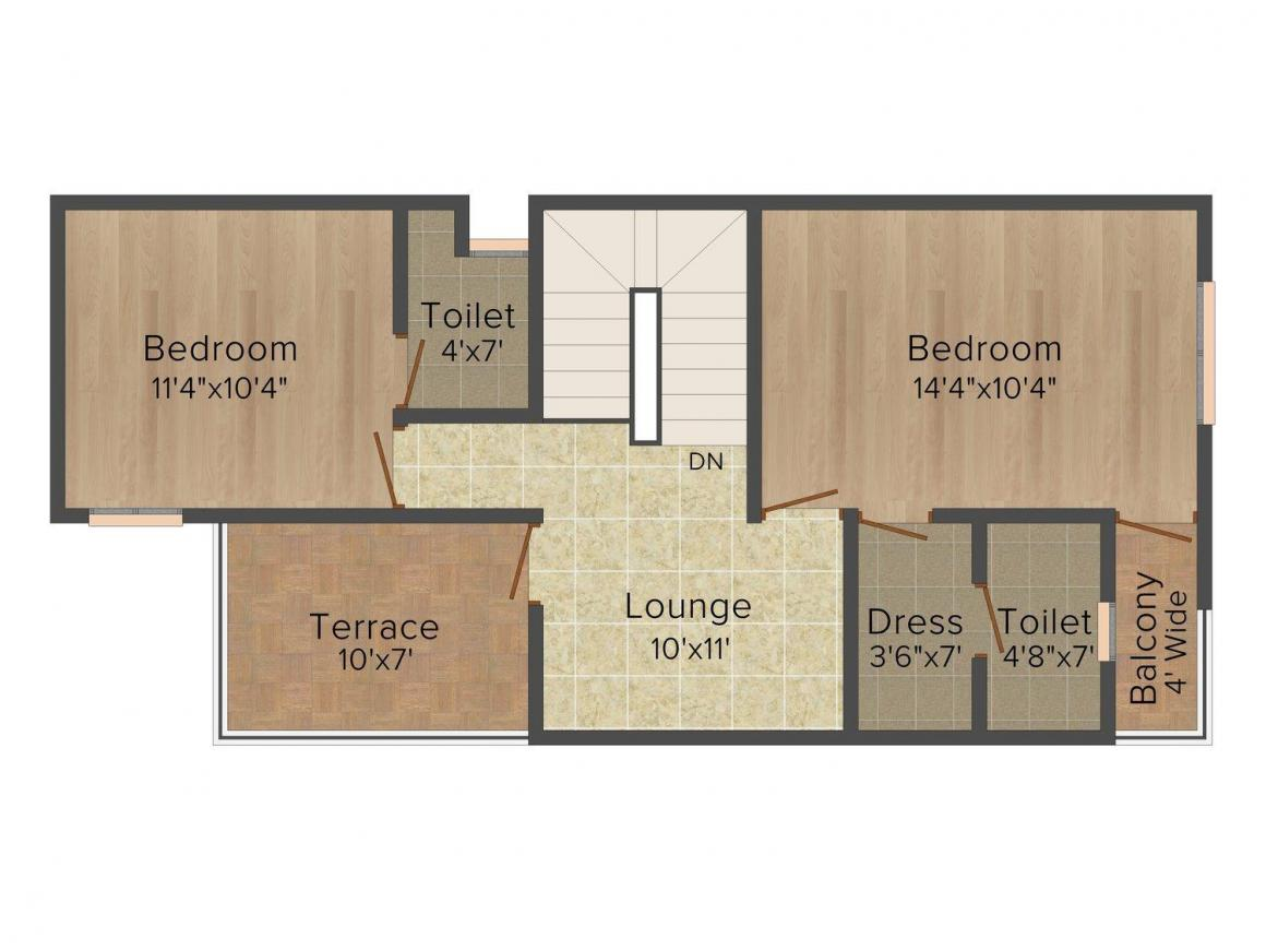 Floor Plan Image of 0 - 1560 Sq.ft 3 BHK Villa for buy in Radhika Mapple Leaf