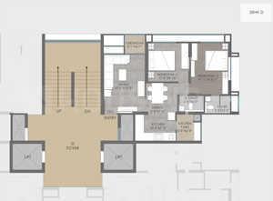 Nishant Ratnaakar Verte Floor Plan: 2 BHK Unit with Built up area of 1185 sq.ft 1
