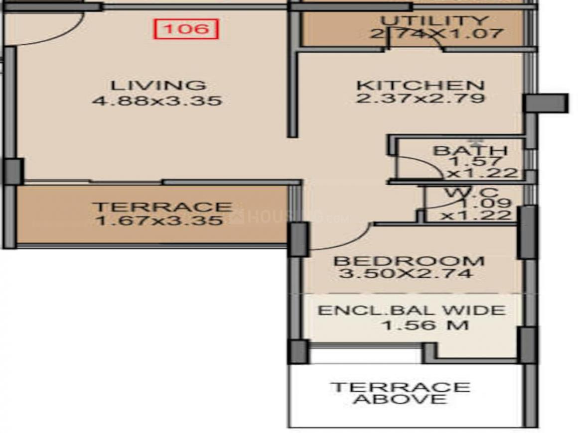 Venkatesh Graffiti Phase 2 Floor Plan: 1 BHK Unit with Built up area of 399 sq.ft 1