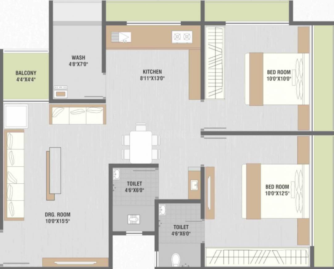 Om Prime Elegance Floor Plan: 2 BHK Unit with Built up area of 581 sq.ft 1