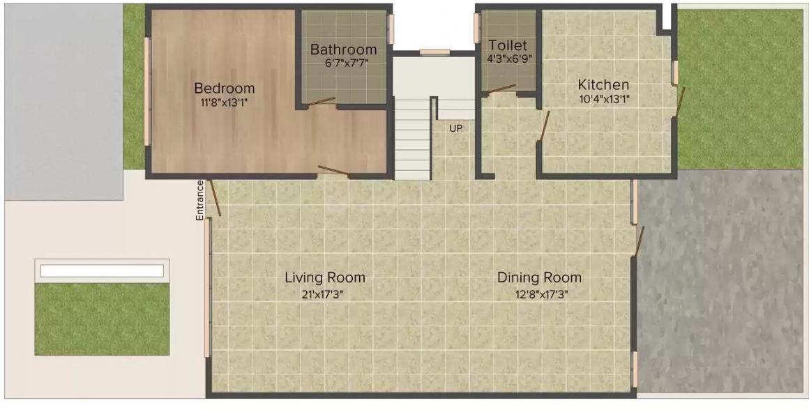 Unitech Espace Floor Plan: 3 BHK Unit with Built up area of 2928 sq.ft 1