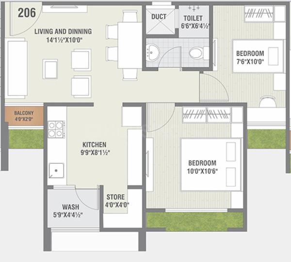 Jaldeep Icon 2 Floor Plan: 1 BHK Unit with Built up area of 916 sq.ft 1