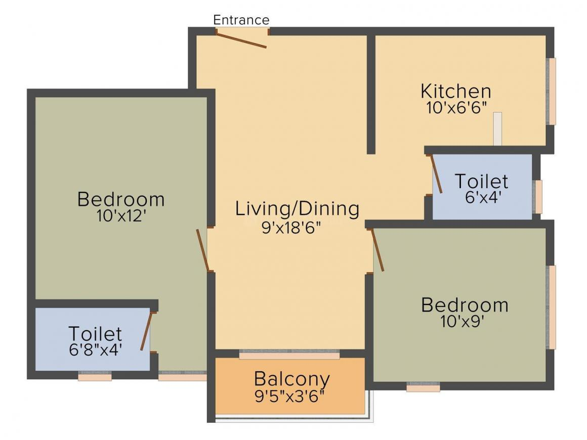 Kumaars Kuber Floor Plan: 2 BHK Unit with Built up area of 770 sq.ft 1
