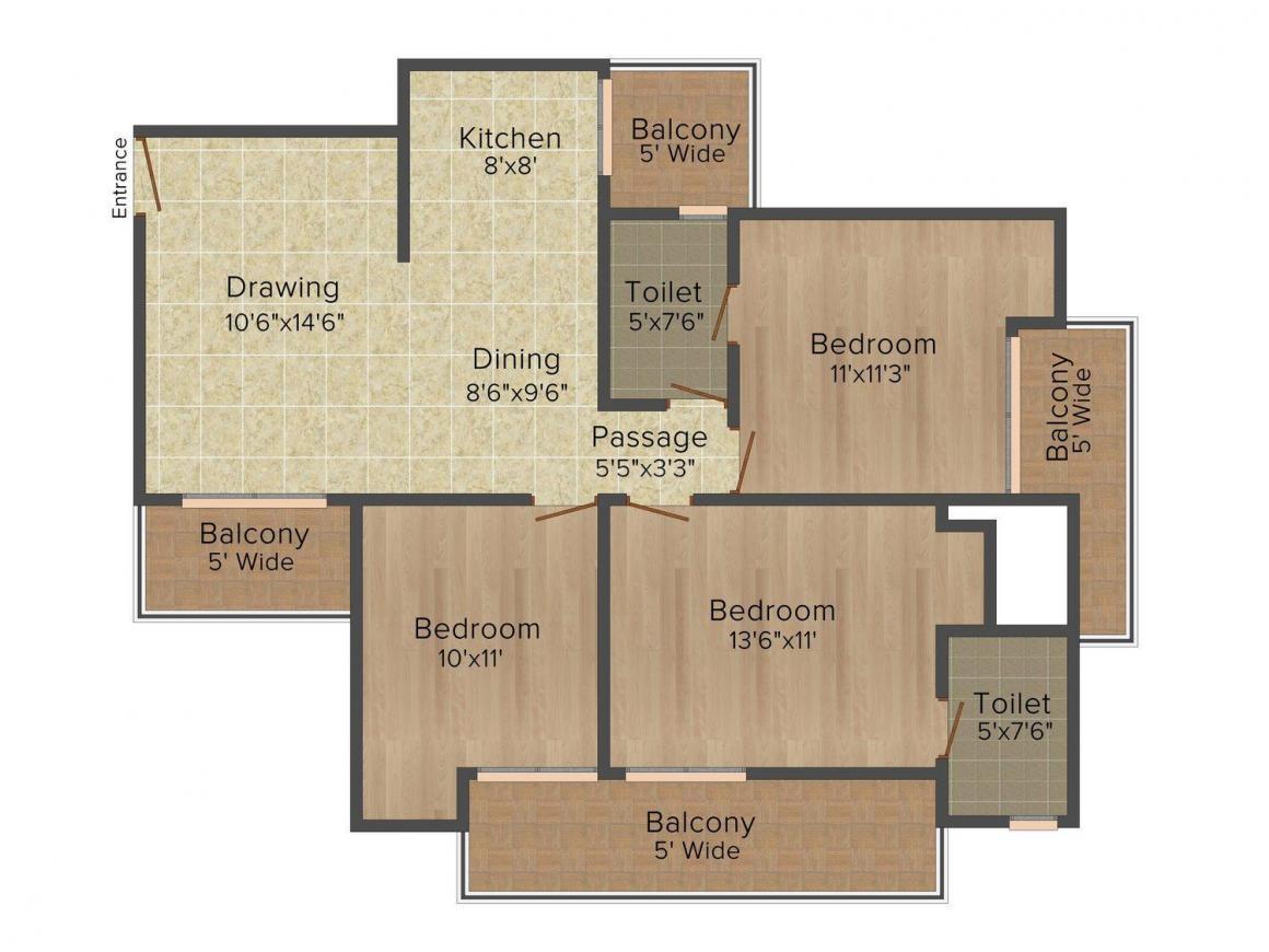 Kartik Floor Floor Plan: 3 BHK Unit with Built up area of 1440 sq.ft 1