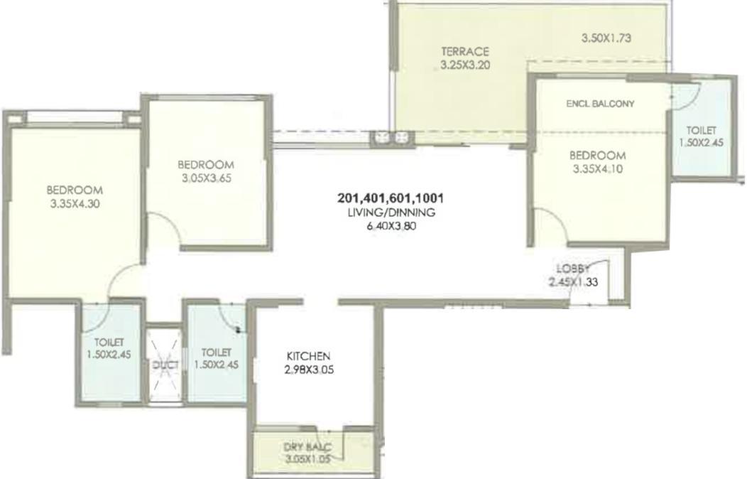 Kolte Patil 24K Stargaze Floor Plan: 3 BHK Unit with Built up area of 981 sq.ft 1