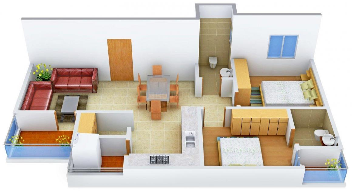 Floor Plan Image of 0 - 950.0 Sq.ft 2 BHK Apartment for buy in Shelter Lake View Apartments