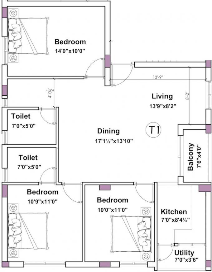 Kenaan Thirumal Castle Floor Plan: 3 BHK Unit with Built up area of 1252 sq.ft 1