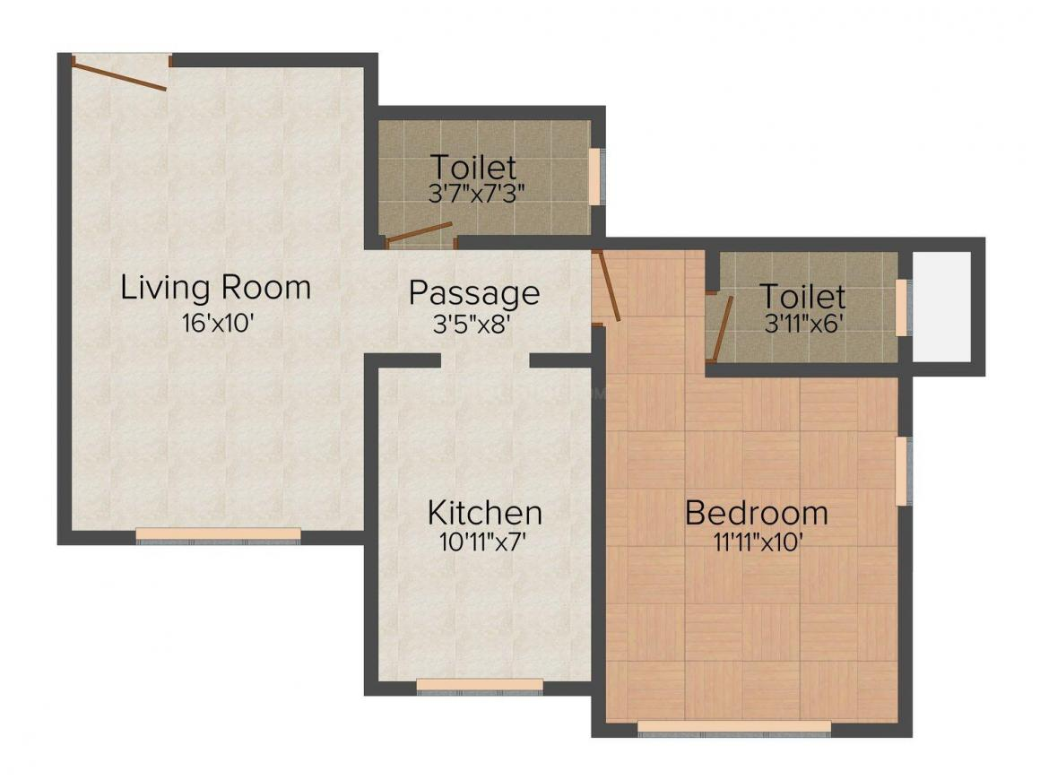 Floor Plan Image of 750.0 - 1100.0 Sq.ft 1 BHK Apartment for buy in Royal Sapphire