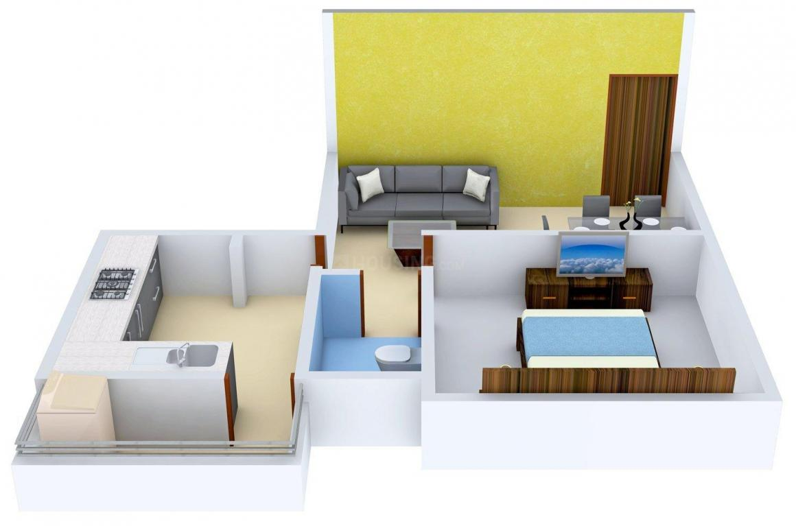 Priya Sun Shine Apartment Phase 2 Floor Plan: 1 BHK Unit with Built up area of 671 sq.ft 1