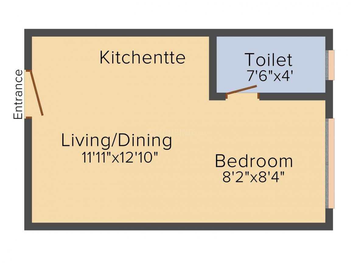 Floor Plan Image of 238 - 366.62 Sq.ft 1 BHK Apartment for buy in