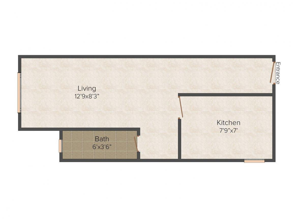Floor Plan Image of 360 - 510 Sq.ft 1 RK Apartment for buy in Galaxy Tech Park