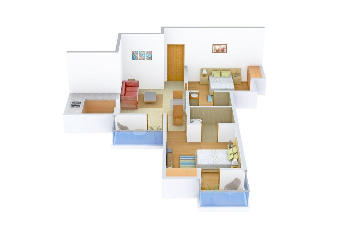 Amrapali Enchante Floor Plan: 2 BHK Unit with Built up area of 850 sq.ft 1