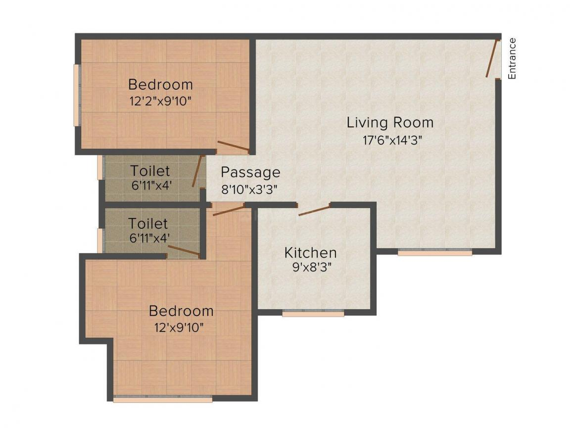 Floor Plan Image of 0 - 1150 Sq.ft 2 BHK Apartment for buy in Shree Laxmi Shreeji Tower