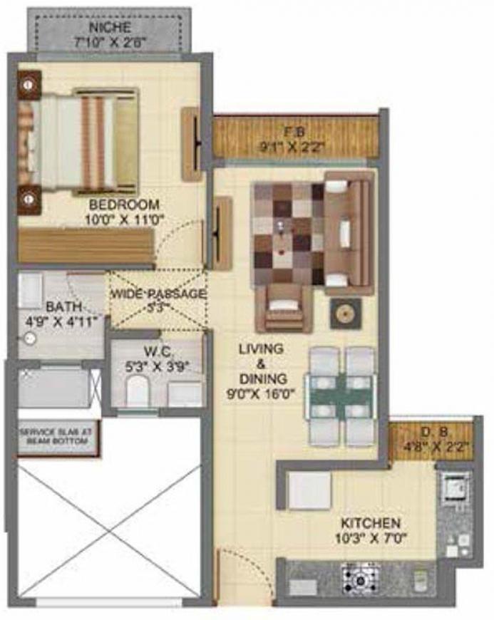 Shapoorji Pallonji Joyville Phase 5 Floor Plan: 1 BHK Unit with Built up area of 355 sq.ft 1