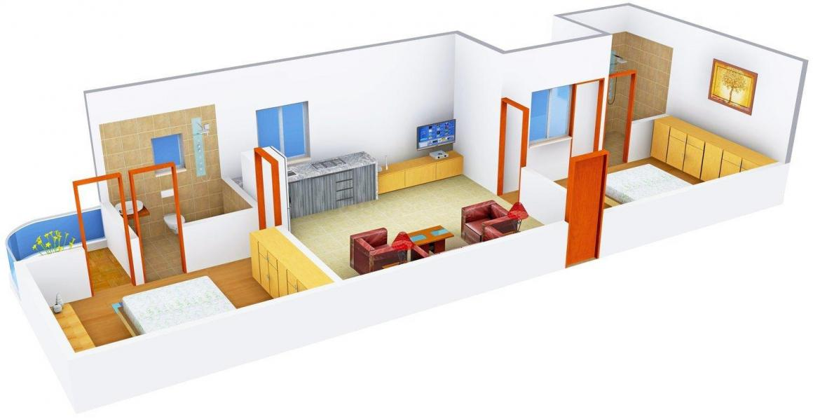 Floor Plan Image of 973.0 - 1995.0 Sq.ft 2 BHK Apartment for buy in Araham Imperial Heights