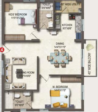 Theme Vista Floor Plan: 2 BHK Unit with Built up area of 1310 sq.ft 1