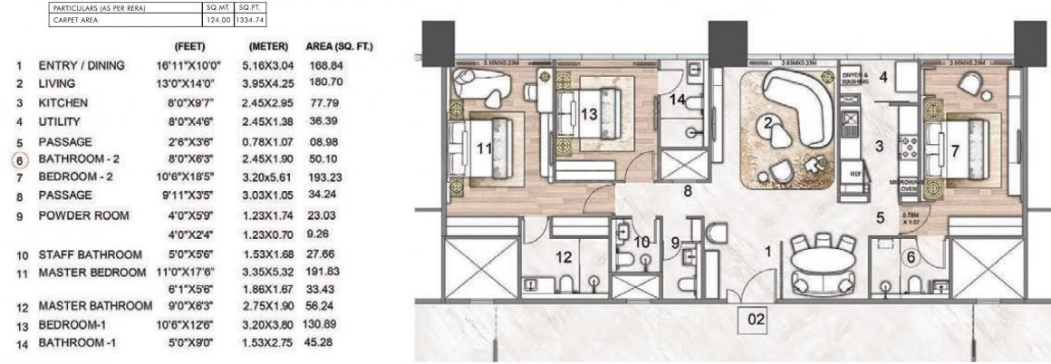 Rustomjee Crown Phase 2 Floor Plan: 3 BHK Unit with Built up area of 1335 sq.ft 1