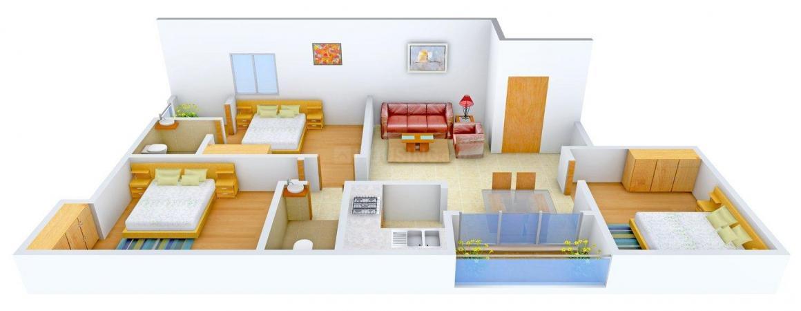 Floor Plan Image of 1201.0 - 1309.0 Sq.ft 3 BHK Apartment for buy in Keshri Niketan Kamal Vatika