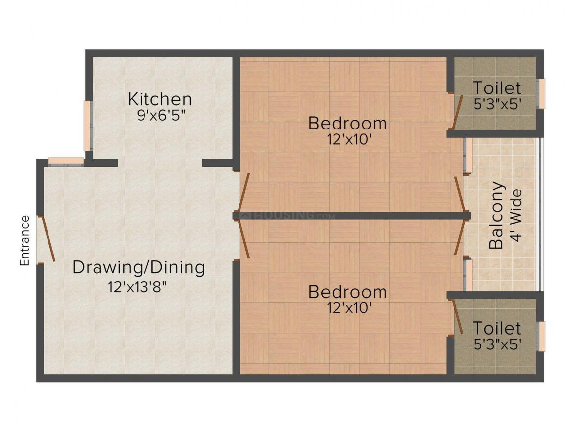 HS3 Nirmal Woods Floor Plan: 2 BHK Unit with Built up area of 1000 sq.ft 1
