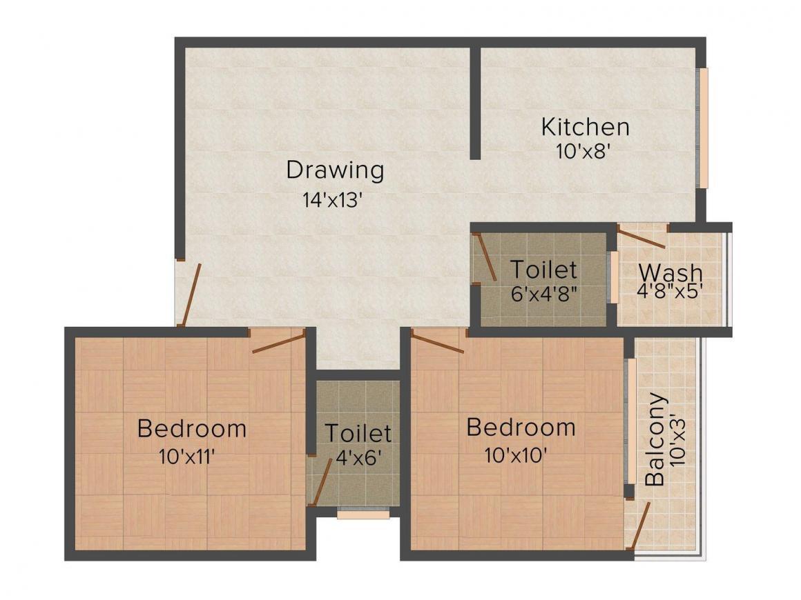 Floor Plan Image of 700.0 - 1400.0 Sq.ft 1 BHK Apartment for buy in Shiv Nath Prem Sagar