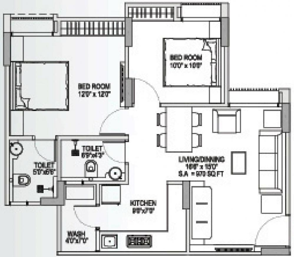 Yash Arian Floor Plan: 2 BHK Unit with Built up area of 970 sq.ft 1