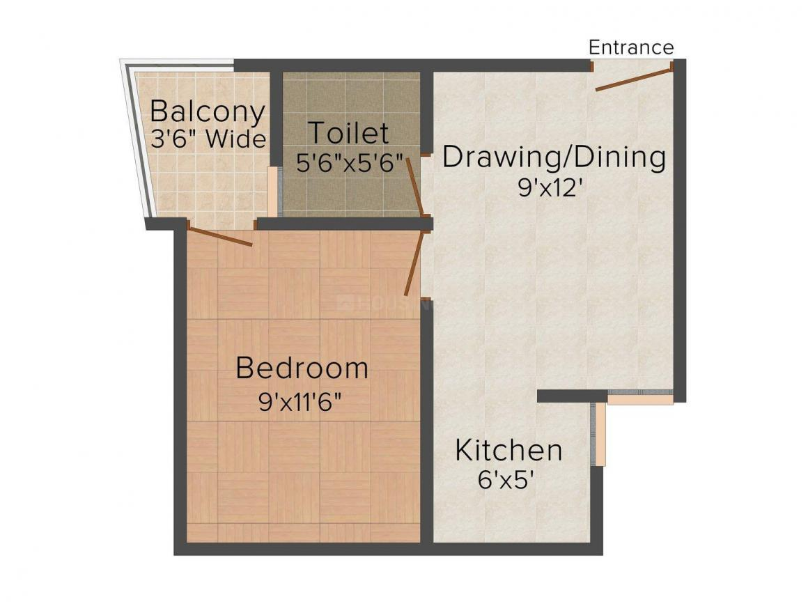 Floor Plan Image of 540.0 - 770.0 Sq.ft 1 BHK Independent Floor for buy in JSR Apartment