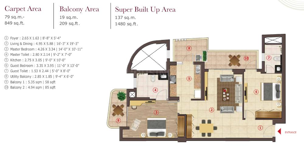 Antara Senior Living Noida Phase1 Floor Plan: 2 BHK Unit with Built up area of 849 sq.ft 1