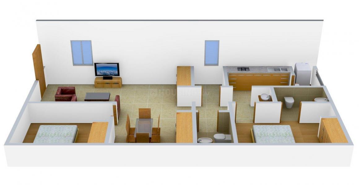 Floor Plan Image of 1000.0 - 1100.0 Sq.ft 2.5 BHK Apartment for buy in Yogitha's Lakshmi Nilayam