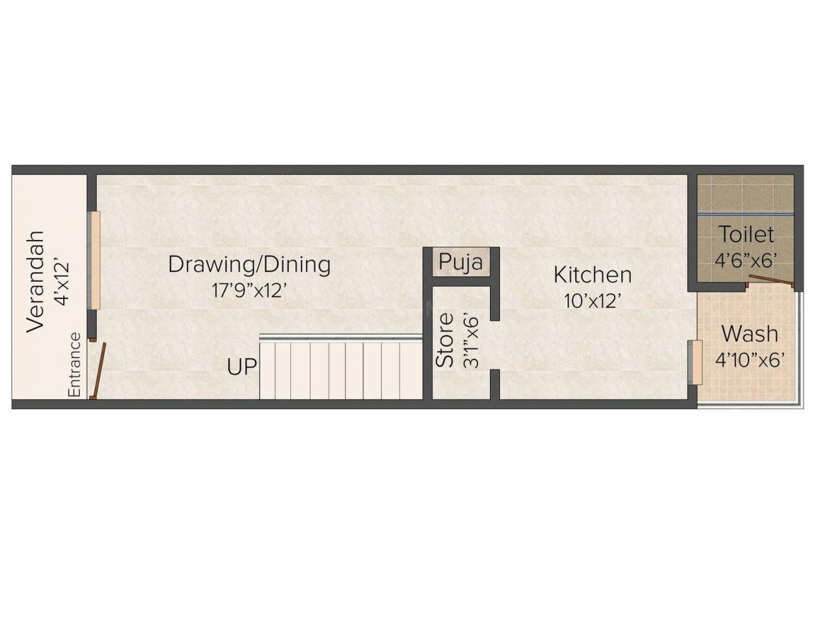 Pushp Villa Floor Plan: 3 BHK Unit with Built up area of 1782 sq.ft 1