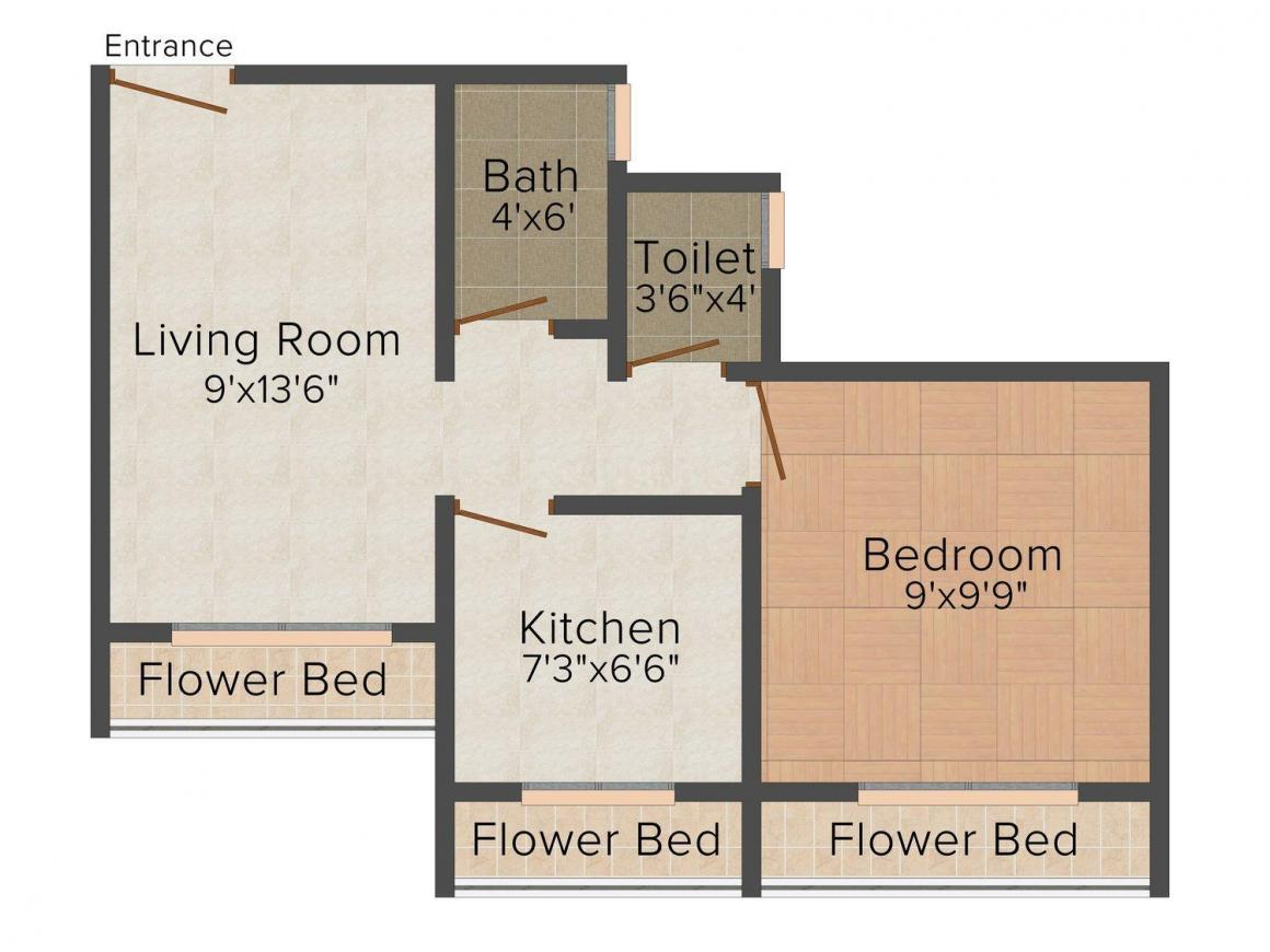 Eknath Niwas Floor Plan: 1 BHK Unit with Built up area of 600 sq.ft 1