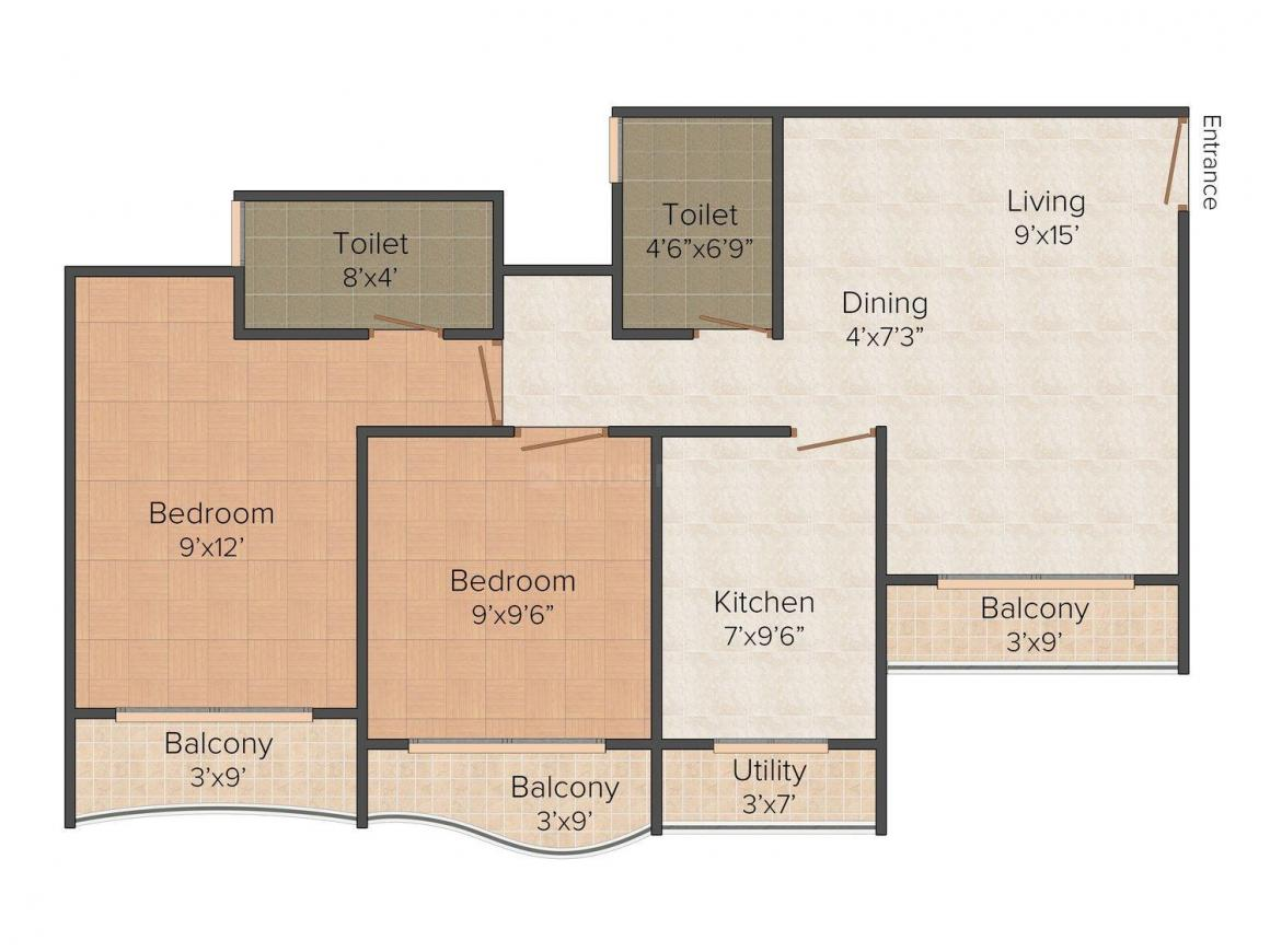 Omkar Plaza Floor Plan: 2 BHK Unit with Built up area of 910 sq.ft 1