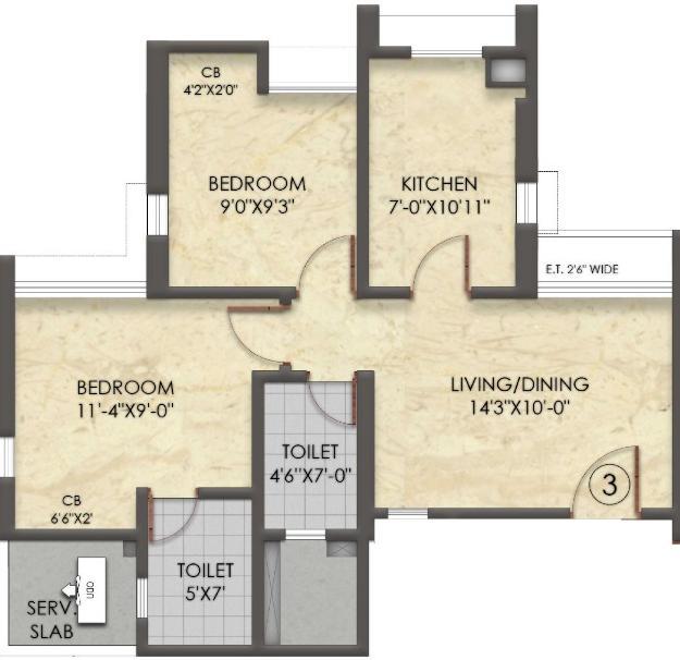 Raymond Realty Ten X Habitat Tower C Floor Plan: 2 BHK Unit with Built up area of 606 sq.ft 1