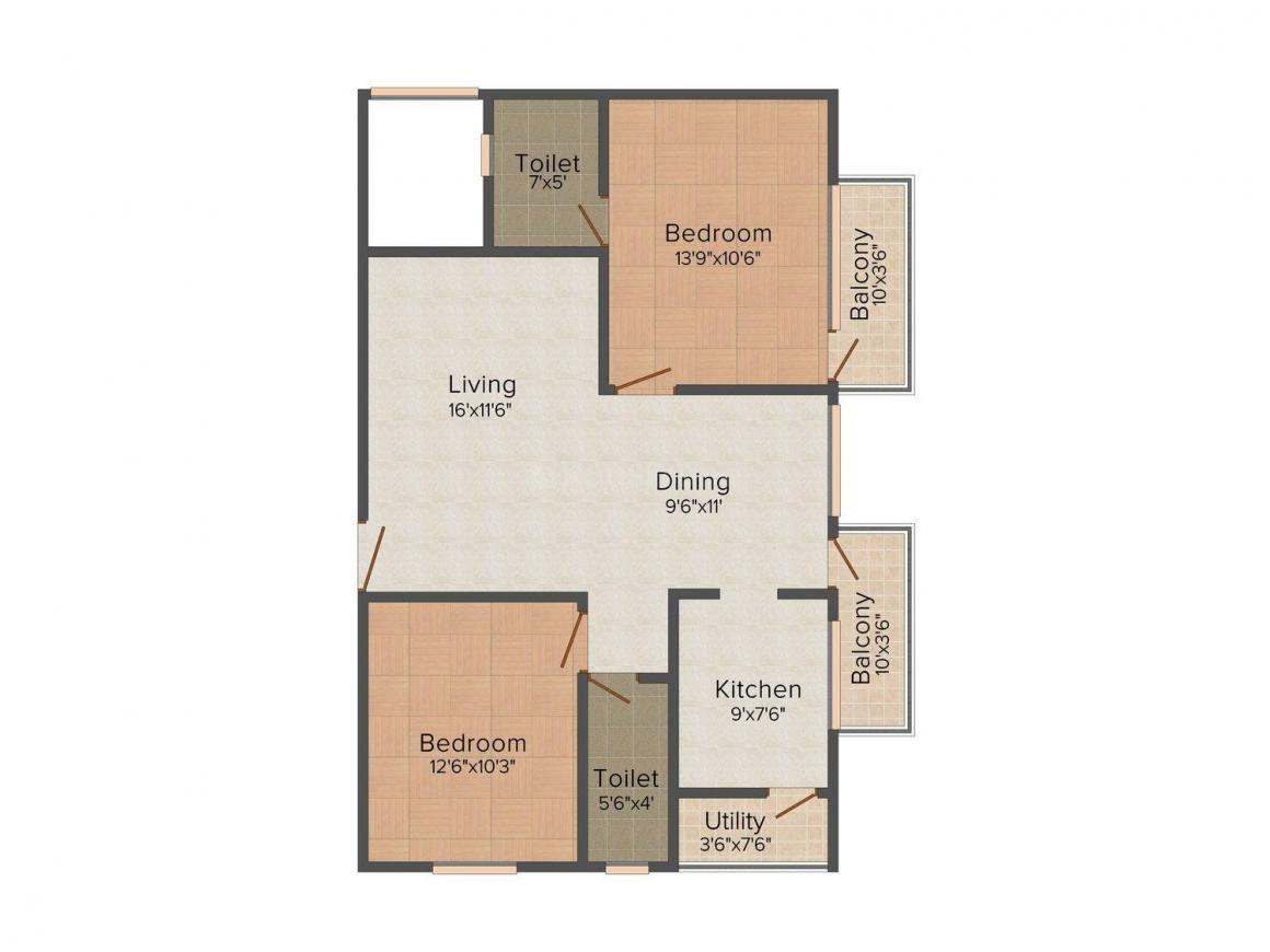 Floor Plan Image of 1090.0 - 1110.0 Sq.ft 2 BHK Apartment for buy in Asya Pearl