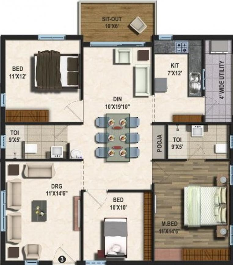 Vajra Jasmine County Floor Plan: 3 BHK Unit with Built up area of 1545 sq.ft 1
