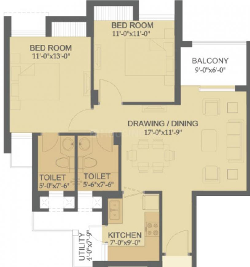Hero Haridwar Greens Apartments Floor Plan: 2 BHK Unit with Built up area of 1081 sq.ft 1