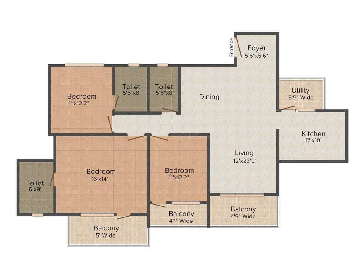 Floor Plan Image of 0 - 1821 Sq.ft 3 BHK Apartment for buy in Shriram Symphonye