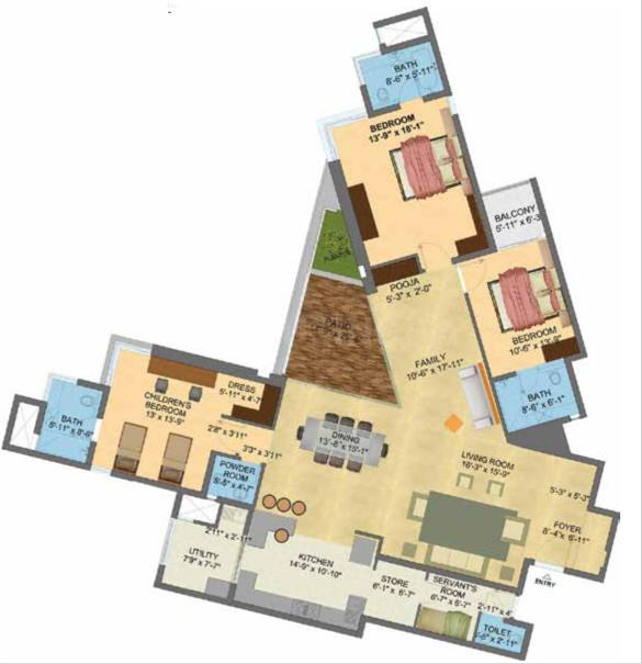 Brigade Exotica Floor Plan: 3 BHK Unit with Built up area of 2990 sq.ft 1