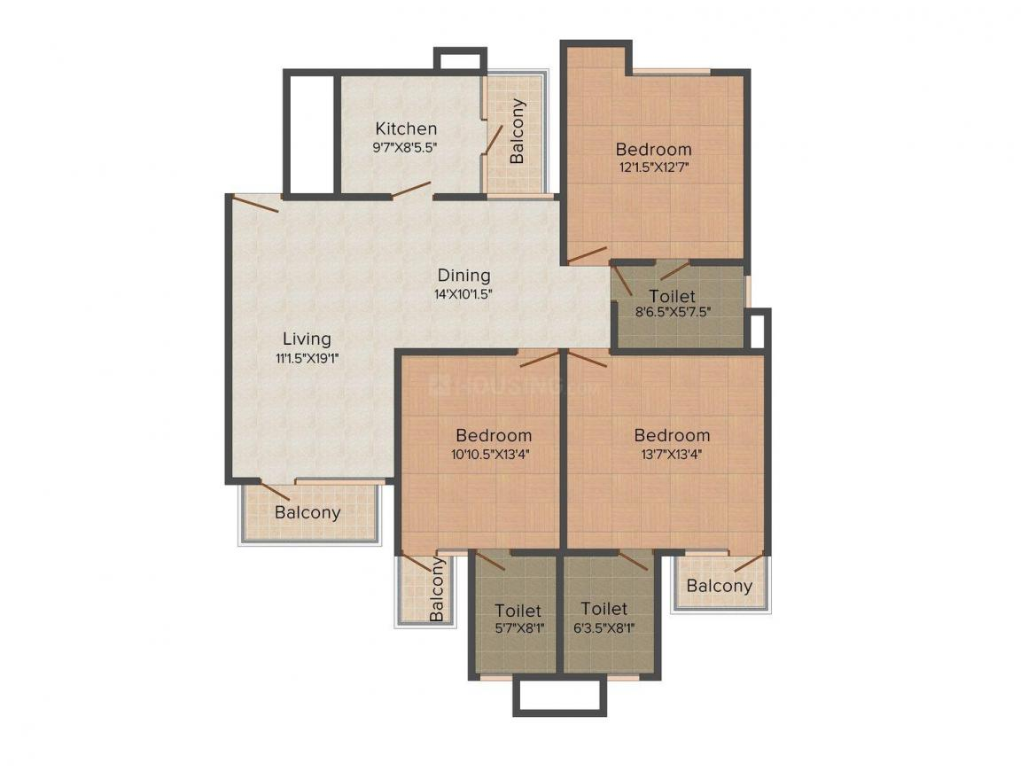 Oxirich Avenue Floor Plan: 3 BHK Unit with Built up area of 1666 sq.ft 1