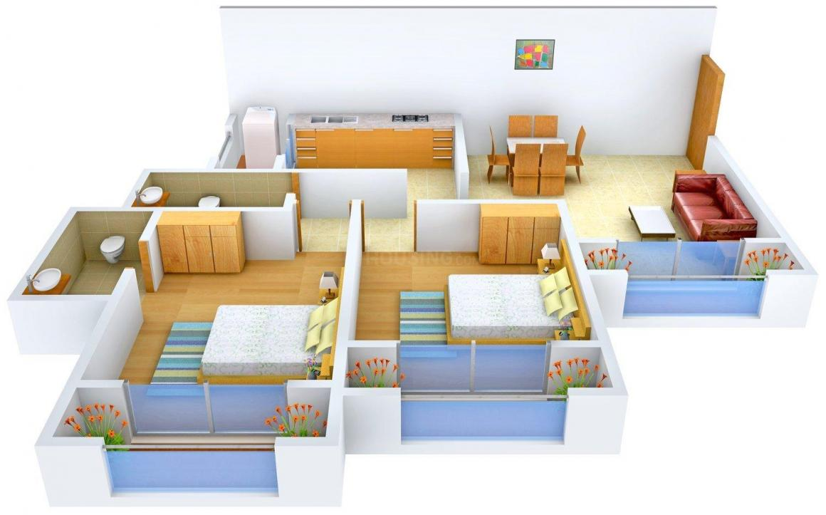 LIS Zaitoon Heights Floor Plan: 2 BHK Unit with Built up area of 1080 sq.ft 1