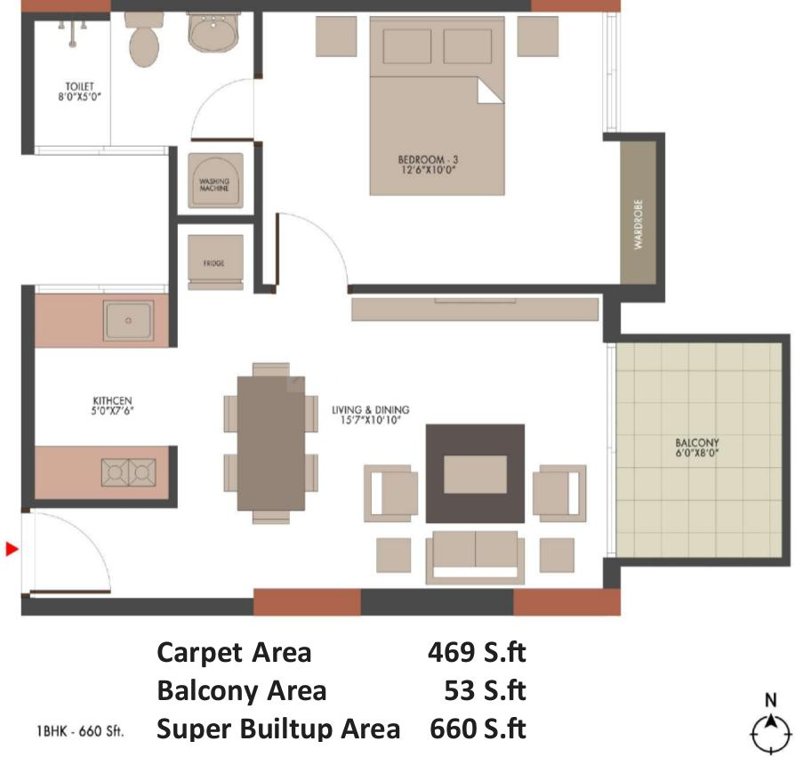 UKN The Belvedere By UKN Airport District Phase 1 Floor Plan: 1 BHK Unit with Built up area of 469 sq.ft 2