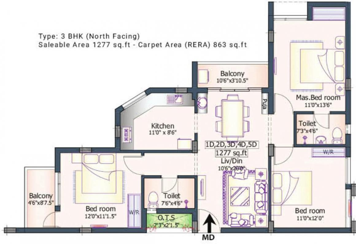 Marutham Apoorva Floor Plan: 3 BHK Unit with Built up area of 1277 sq.ft 1