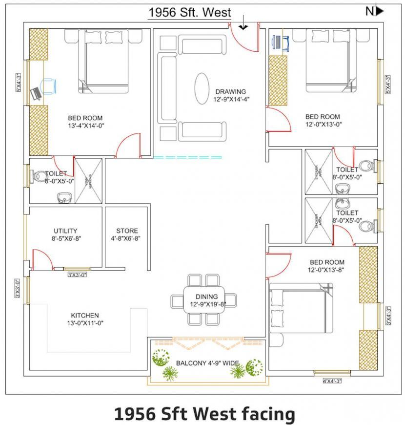 Dhivya Shree Shakthi Floor Plan: 3 BHK Unit with Built up area of 1956 sq.ft 1