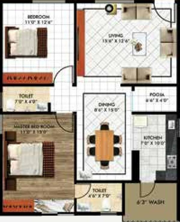 Floor Plan Image of 1156.04 - 1684.98 Sq.ft 2 BHK Apartment for buy in