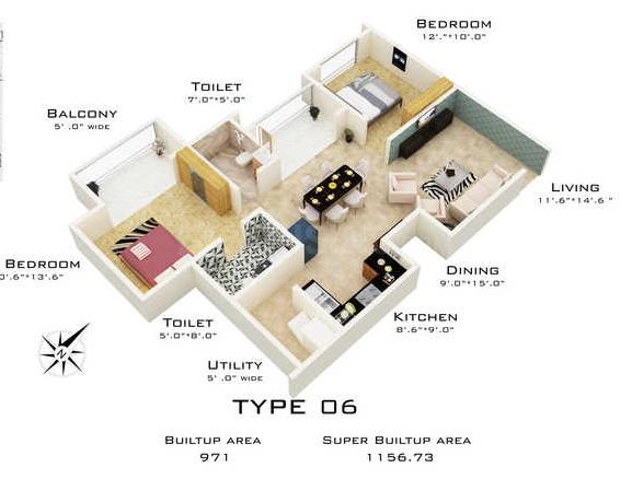 DNA Opus Floor Plan: 2 BHK Unit with Built up area of 1157 sq.ft 1
