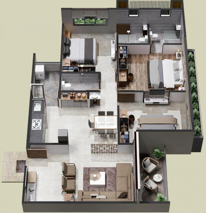 Palm Glory III Floor Plan: 3 BHK Unit with Built up area of 1710 sq.ft 1